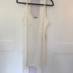 Alice + Olivia sheer white sequin tank dress